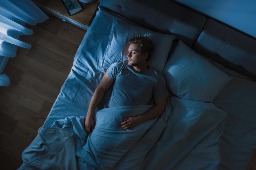 A man sleeping calmly.